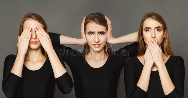 Reihe Porträts der jungen Frau am grauen Hintergrund stockbilder