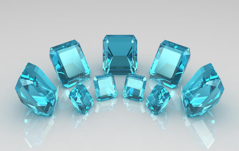 Reihe Smaragd geschnittene blaue Aquamarinesteine stockfotos