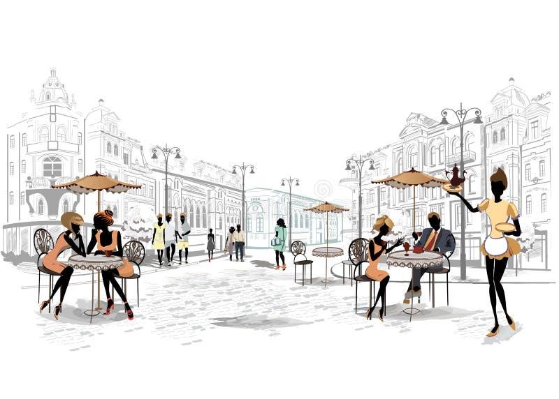 Reihe Straßencafés in der Stadt mit trinkendem Kaffee der Leute stock abbildung