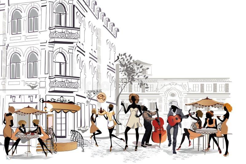 Reihe Straßencafés in der Stadt mit trinkendem Kaffee der Leute lizenzfreie abbildung