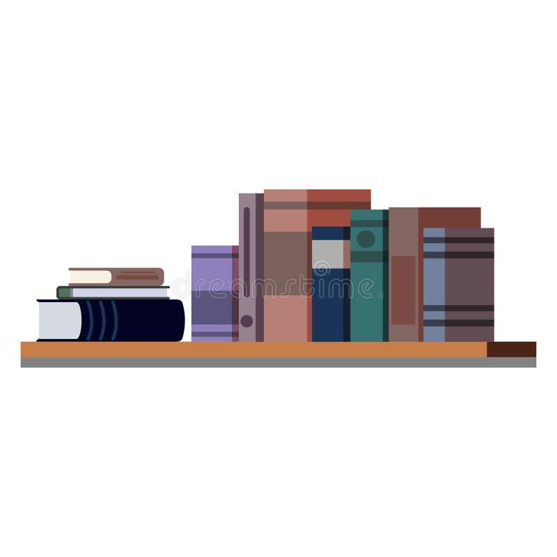 Reihe und Stapel verschiedene bunte Bücher auf dem hölzernen Regal lokalisiert auf weißem Hintergrund stock abbildung