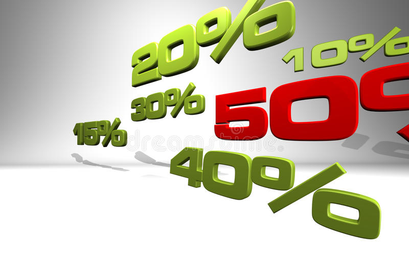 Reihe verschiedene Prozentsatzzahlen vektor abbildung