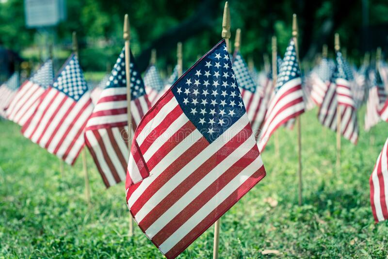 Reihe von amerikanischen Rasenflaggen auf grünem Gras am Gedenktag in Dallas, Texas, USA stockbild