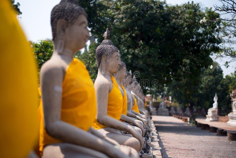 Reihe von Buddha im selektiven Fokus stockfotografie