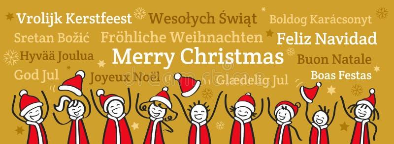 Reihe von den zujubelnden Strichmännchen, die Santa Claus-Kostüme, Weihnachtsfahne, Grüße in den verschiedenen Sprachen tragen stock abbildung