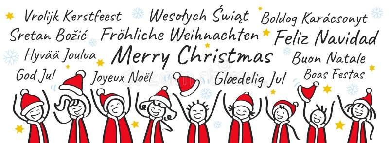 Reihe von den zujubelnden Strichmännchen, die Santa Claus-Kostüme, Weihnachtsfahne, Grüße in den verschiedenen Sprachen tragen lizenzfreie abbildung