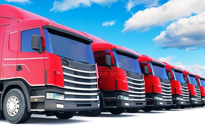 Reihe von Fracht-LKWs gegen blauen Himmel lizenzfreie abbildung