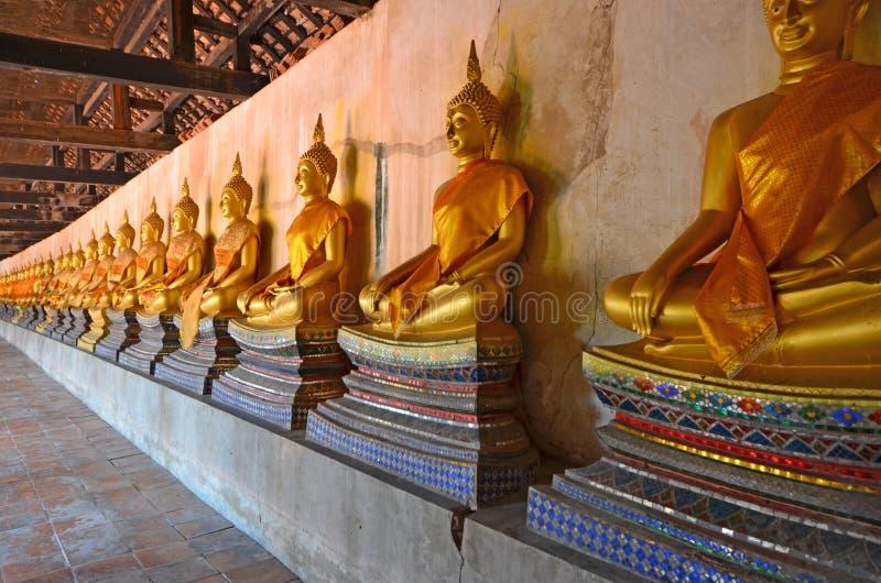 Reihe von goldenen Buddha-Bildern auf schöner Basis im thailändischen Tempel stockfoto