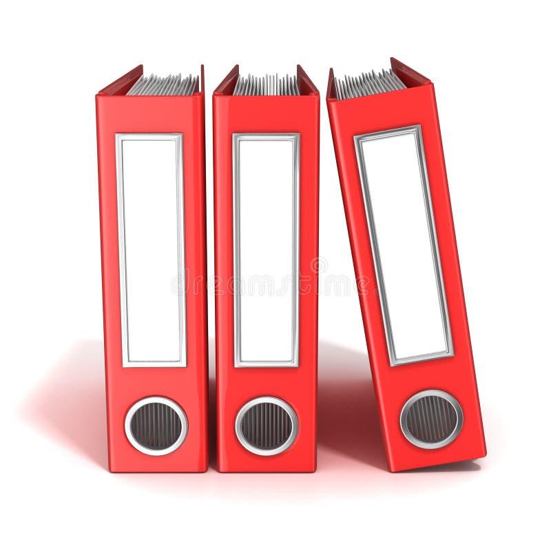 Reihe von Mappen, rote Büroordner stock abbildung