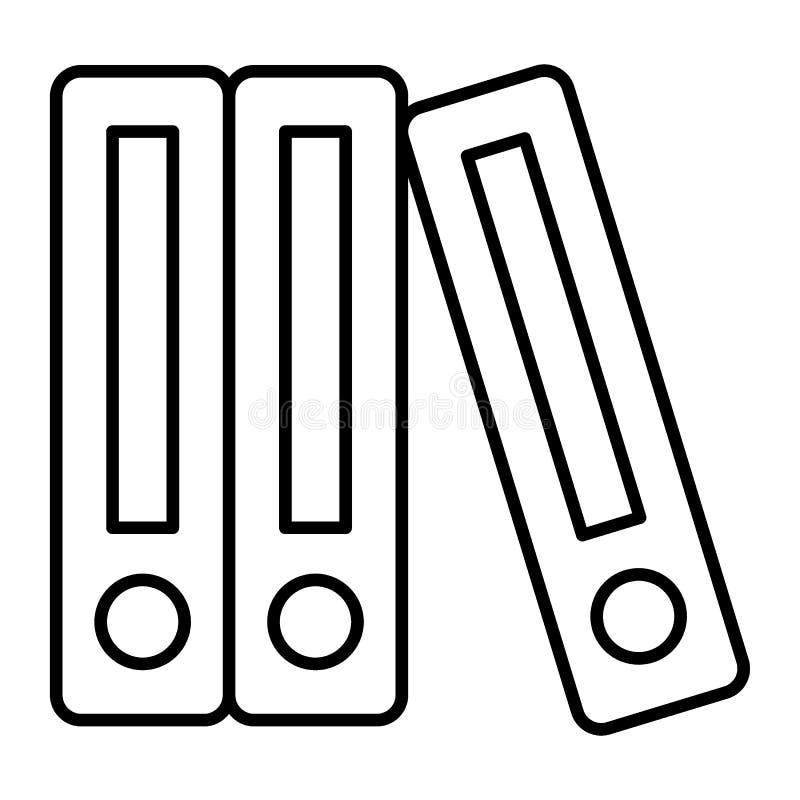 Reihe von Mappen verdünnen Linie Ikone Mappenvektorillustration lokalisiert auf Weiß Büroordnerentwurfs-Artdesign lizenzfreie abbildung