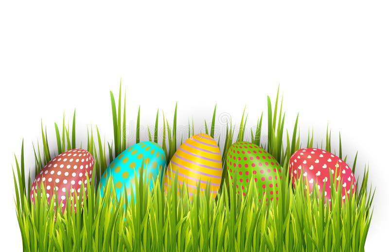 Reihe von Ostern malte Eier versteckt im grünen Gras und auf weißem Hintergrund lokalisiert Auch im corel abgehobenen Betrag lizenzfreie abbildung