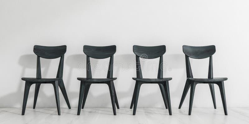 Reihe von schwarzen Holzstühlen lizenzfreie abbildung