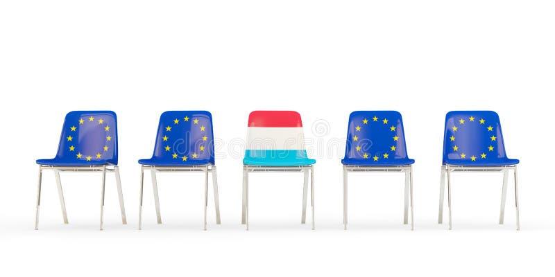 Reihe von Stühlen mit Flagge von EU und von Luxemburg vektor abbildung
