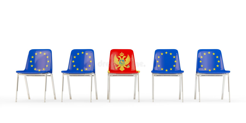 Reihe von Stühlen mit Flagge von EU und von Montenegro stock abbildung