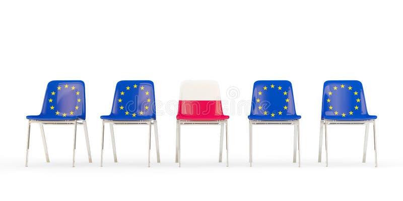 Reihe von Stühlen mit Flagge von EU und von Polen lizenzfreie abbildung