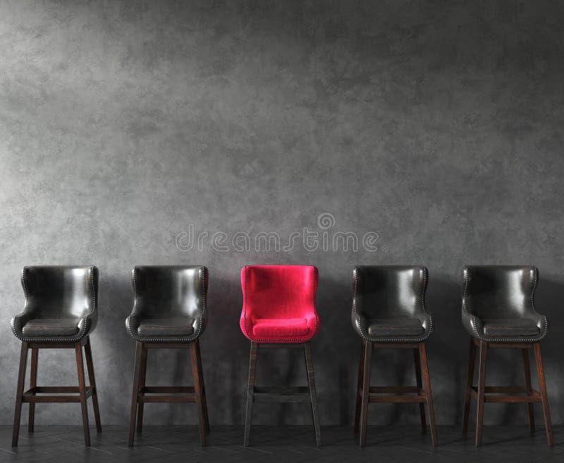 Reihe von Stühlen mit hervorragendem Rosa eins Jobs Zeitung und Kaffee lizenzfreies stockbild