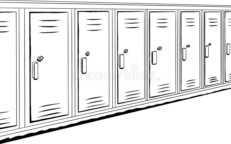 Reihe von umrissenen Schließfächern lizenzfreie abbildung