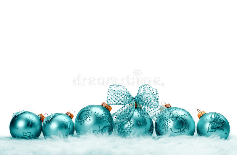 Reihe von Weihnachtsbällen stockfoto