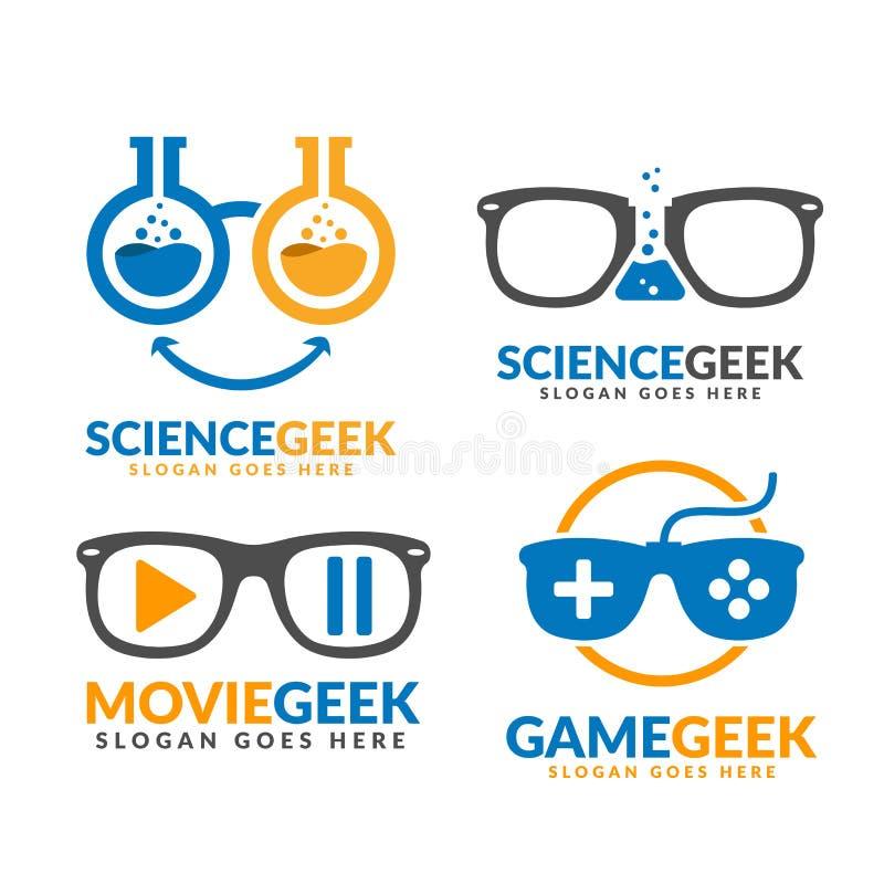Reihe von Wissenschafts-Geek- und Film-Geek und Spiel-Geek-Logo-Vorlage vektor abbildung