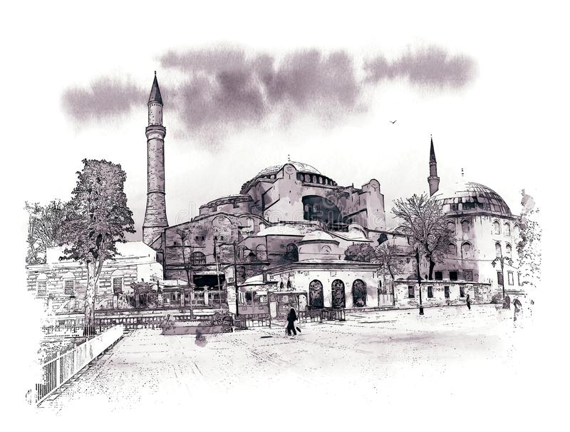 Reihe zu Hagia Sophia Museum, Istanbul, die Türkei Aquarell-Skizze stockbilder