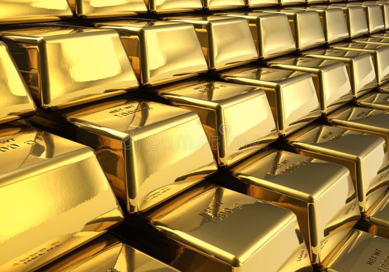 Reihen der Goldstäbe lizenzfreie abbildung
