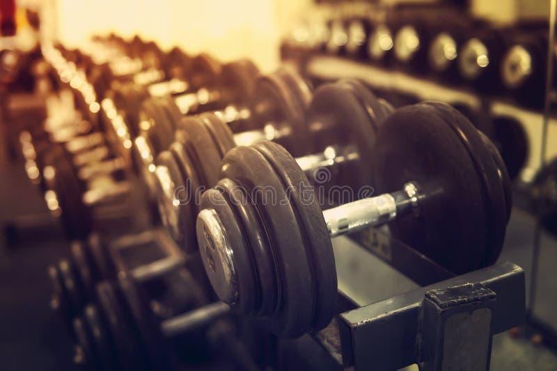 Reihen von Dummköpfen in der Turnhalle mit hign Kontrast und einfarbiger Farbe tonen, Konzept von Bodybuilding lizenzfreies stockfoto