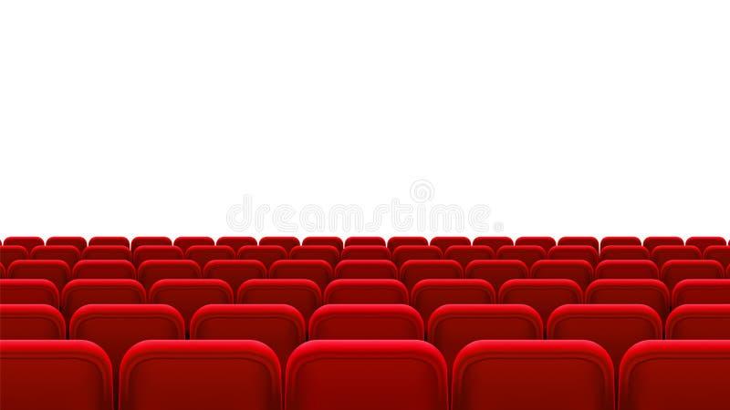 Reihen von roten Sitzen, hintere Ansicht Leere Sitze in der Kinohalle, Kino, Theater, Oper, Ereignisse, stellt dar Küche und Fruc lizenzfreie abbildung