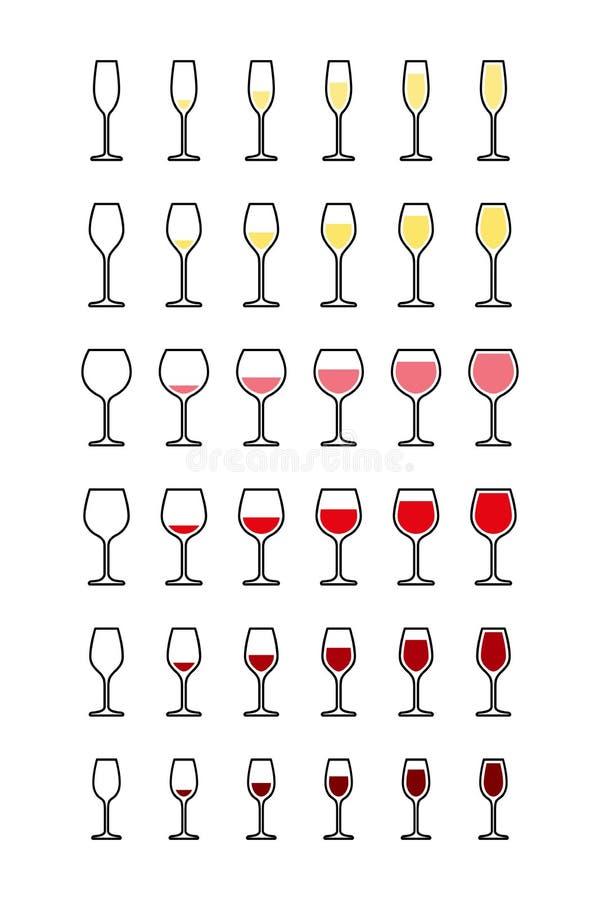 Reihen von Weingläsern von leerem nach voll vektor abbildung