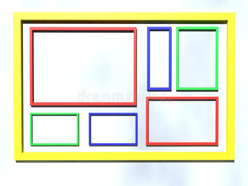 Reihenansicht der Illustration 3D von Rahmen mit verschiedenen Größen und von Farben auf Steigungshintergrund lizenzfreie abbildung