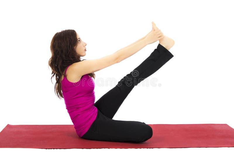 Reiher-Haltung im Yoga stockfoto