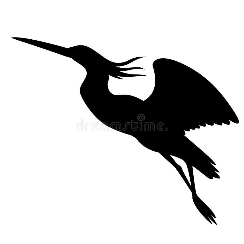 Reiher im Flug, Vektorillustration, schwarzes Schattenbild vektor abbildung