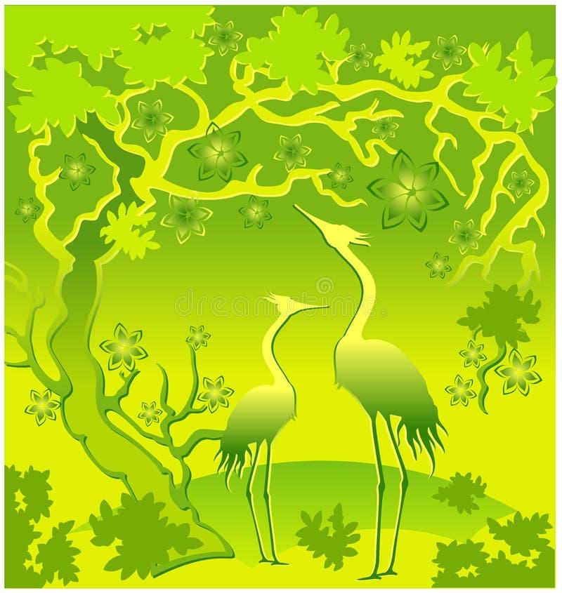 Reiher im Grün stock abbildung