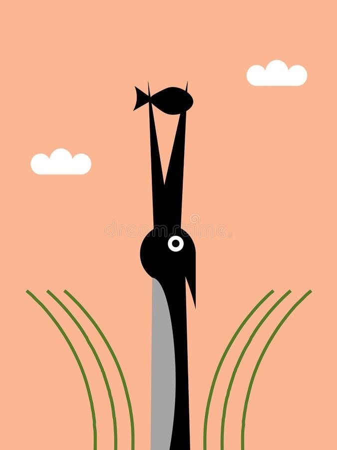 Reiher mit Fischen vektor abbildung