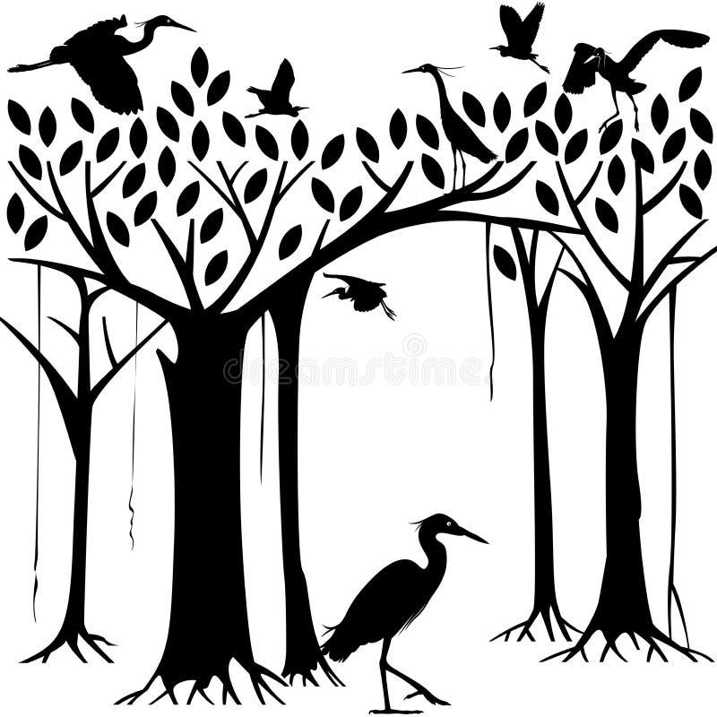 Reiher und Banyanbaumwald stock abbildung