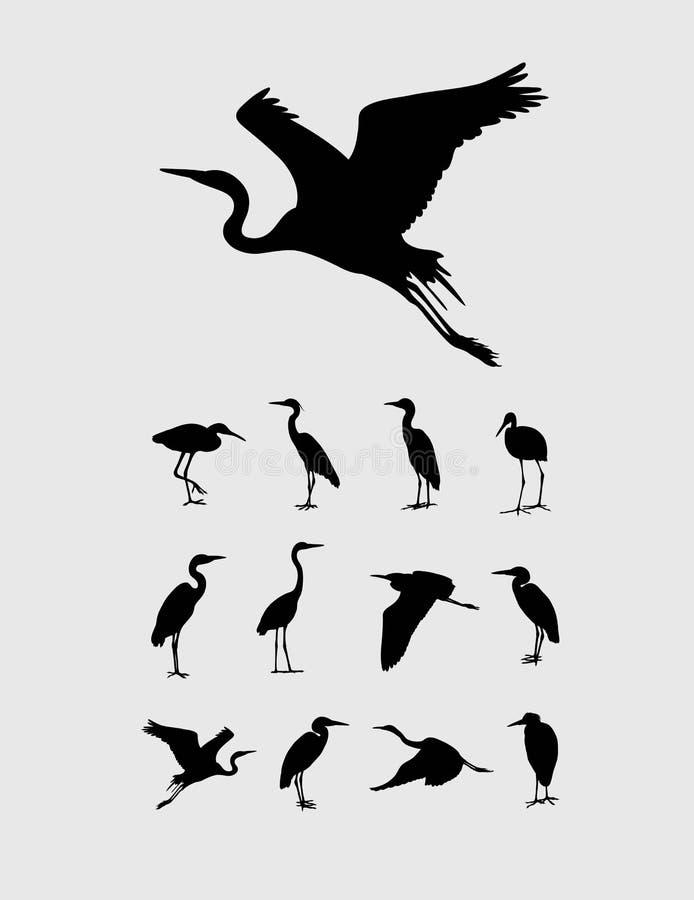 Reiher-und Storch-Vogel-Schattenbilder stock abbildung
