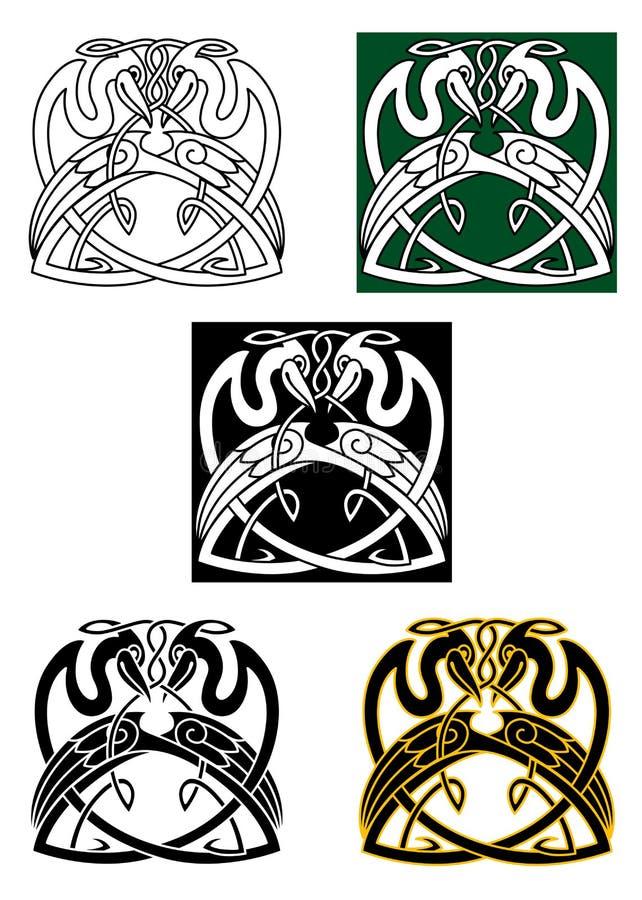 Reihervogel mit keltischer Verzierung stock abbildung