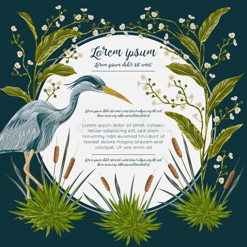 Reihervogel und und Sumpfanlagen Sumpfflora und -fauna Entwerfen Sie für Fahne, Plakat, Karte, Einladung und Einklebebuch lizenzfreie abbildung