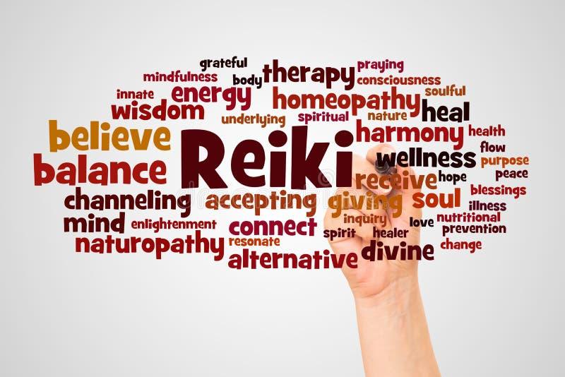Reiki词云彩和手有标志概念的 库存例证