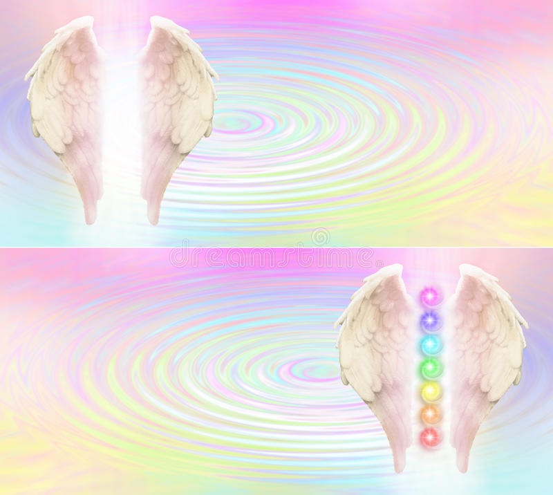 Reiki Angel Wings and Seven Chakras website header vector illustration