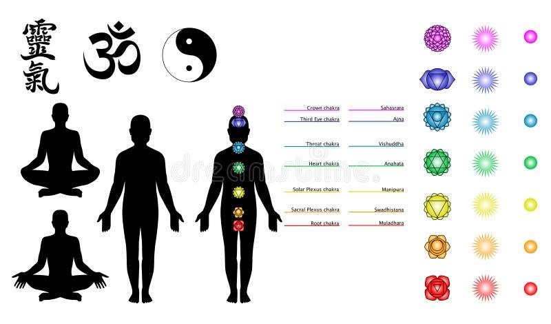 Reiki, chakras, símbolos da ioga ilustração royalty free