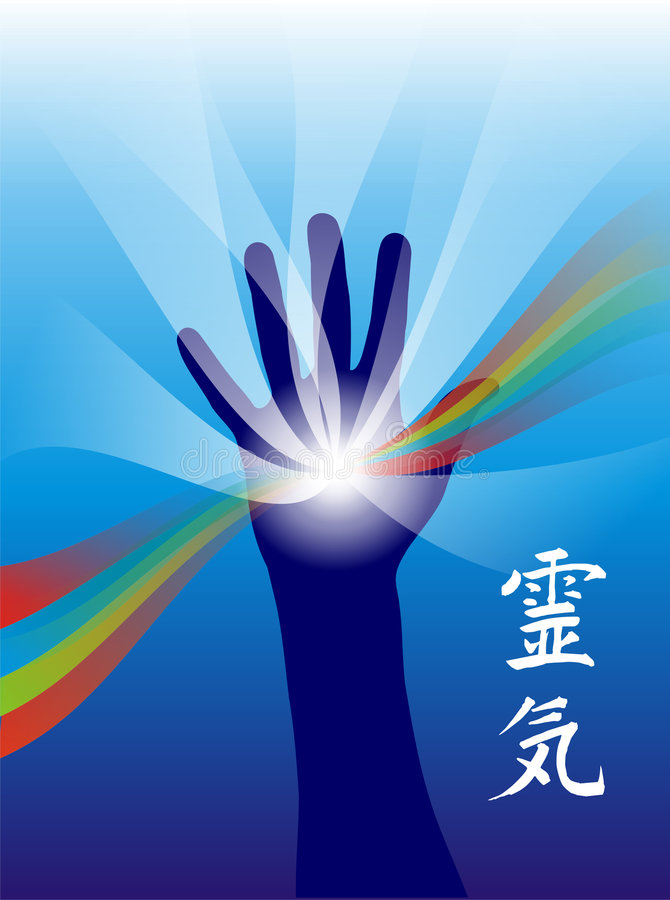Reiki healing hand. Vector illustration of a hand with energy rays and calligraphic symbol of Reiki