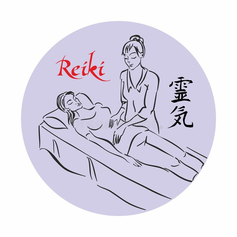 Reiki healing. Master Reiki conducts a treatment session for the patient. Alternative medicine. Sketch. Logo. Vector royalty free illustration
