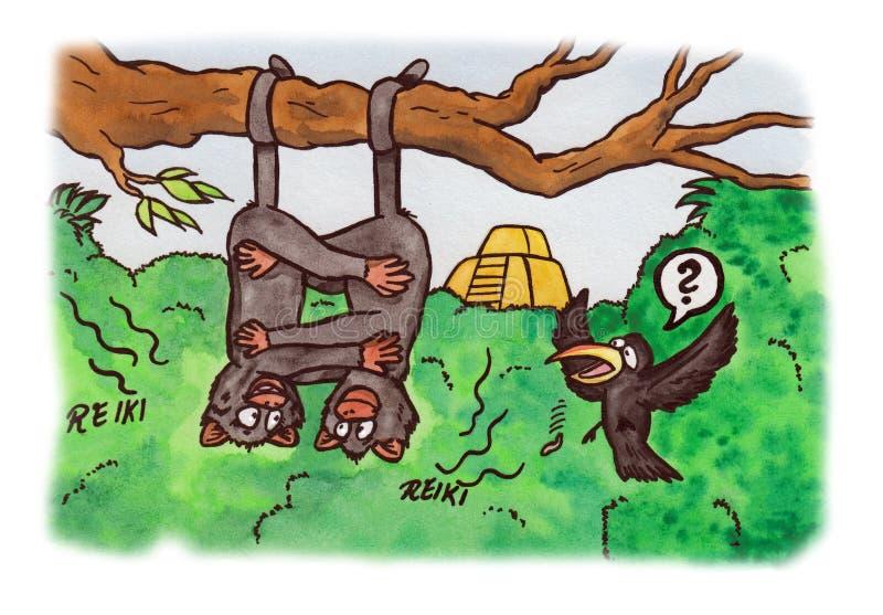 Reiki Monkeys (2007) ilustração do vetor