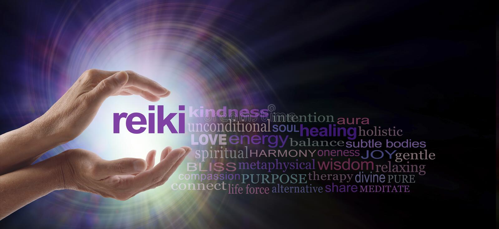 Reiki Vortex Healing Word Cloud. Female hands cupped around the word REIKI with a relevant word cloud on a spiraling bright light vortex background and copy