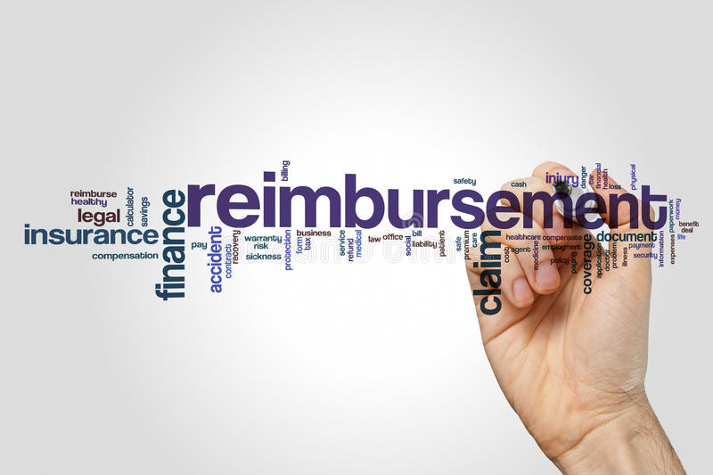 Reimbursement word cloud. Concept on grey background royalty free stock image