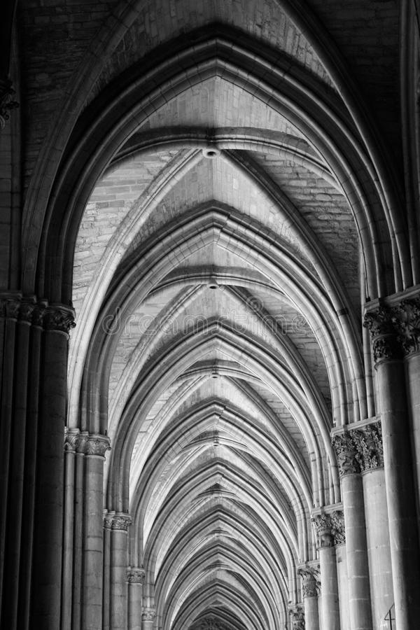 Reims Cathedral Ceiling Arches stock photography