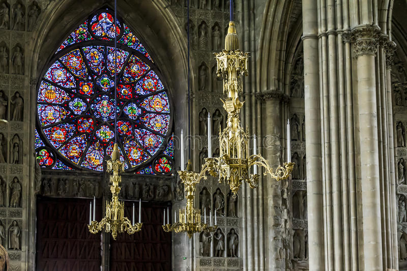 Reims Cathedral inside editorial stock image. Image of religious ...