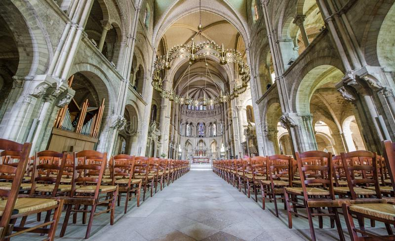REIMS FRANCE 2018 AUG: interiors of san remi cathedral of reims . It has conserved the relics of Saint Remi died 553, the royalty free stock image