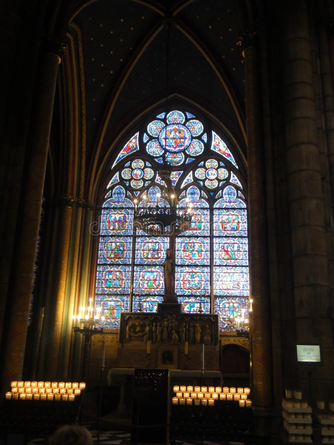 Reims, France - august 2011 : stained glass window of the Notre Dame cathedral where the kings of France were crowned.  stock photo