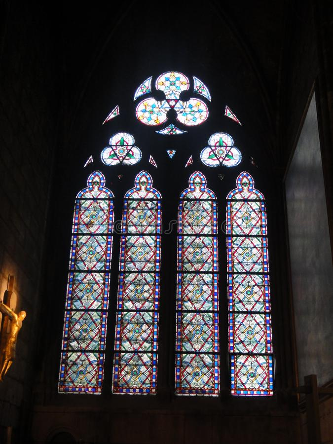 Reims, France - august 2011 : stained glass window of the Notre Dame cathedral where the kings of France were crowned.  stock photography